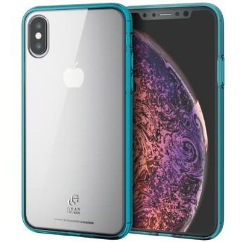 ELECOM PM-A18BHVCG1BU iPhone XS ハイブリッドケース ガラス スタンダード クリアブルー ケース・カバー
