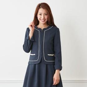 セットアップにもなる☆ノーカラージャケット【9AR〜23ABR】 「ネイビー」