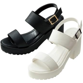 【格安-女性靴】レディースダブルベルト厚底スポーツサンダル