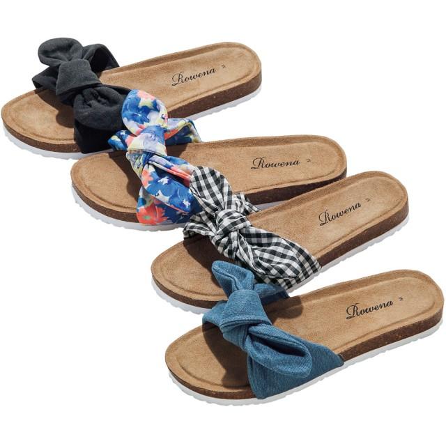 【格安-女性靴】レディースリボン付コンフォートサンダル