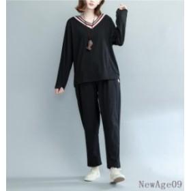 セットアップ トップス+パンツ レディース 長袖 大きさサイズ Tシャツ ペインターパンツ Vネック
