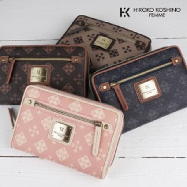 二つ折り財布 ファスナー ジッパー レディース 4色 合成皮革 カジュアル ギフト 祝い プレゼント  HIROKO KOSHINO