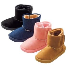 【格安-子供用靴】キッズボア付ムートン調ショート丈ブーツ