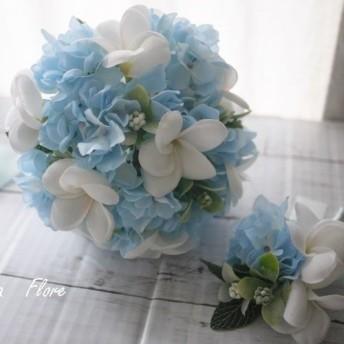 プルメリアと水色アジサイのウェディングブーケ★ブートニアセット