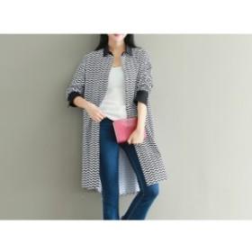 【XL~5XL】大きいサイズ 秋新作 波ストライプパターン カジュアル シャツ ドレス