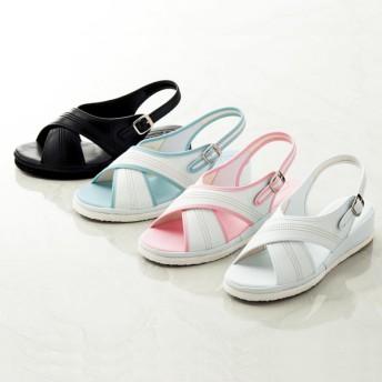 【格安-女性靴】レディースかかと滑り止め付バックバンド付ワークサンダル