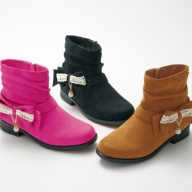 【格安-子供用靴】ジュニアレースリボン付ブーツ