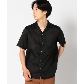 【55%OFF】 シップス SC: ファイン ラミー オープンカラーシャツ メンズ ブラック LARGE 【SHIPS】 【タイムセール開催中】
