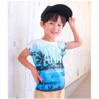 【50%OFF】 アナップキッズ ヤシの木グラデーションTシャツ レディース ブルー 110 【ANAP KIDS】 【セール開催中】