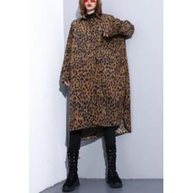 ヒョウ柄シャツ ワンピース レディース ロングシャツ 長袖 かっこいい オシャレ 絨 豹柄 秋 冬