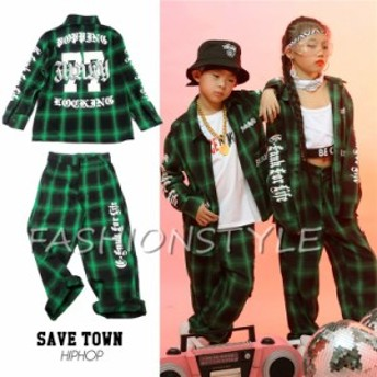 キッズ ダンス衣装 子供 ヒップホップ チェック柄 ジャケット シャツ パンツ セットアップ 男の子 女の子 ダンス衣装 ジャズダンス
