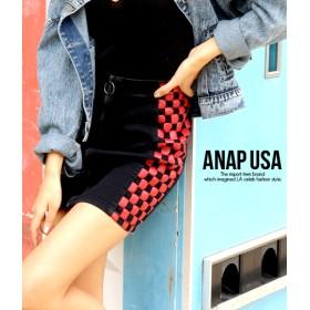 【セール開催中】ANAP(アナップ)サイドブロックチェックジップミニスカート