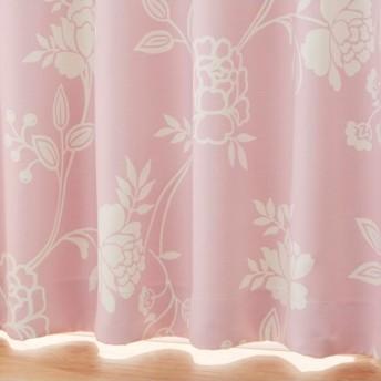 【送料無料!】ラインフラワー柄遮光カーテン