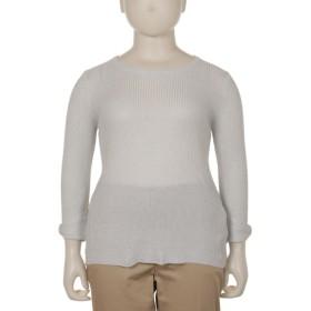 【大きいサイズレディース】【L-3L】ゆったりサイズ!袖リボンラメ入りリブニット トップス ニット