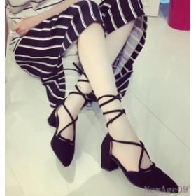ポインテッドトゥシューズ セパレート靴 メリージェーン チャンキーヒール靴 美脚 レディース アンクルストラップ