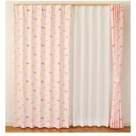 【送料無料!】リボン柄カーテン ドレープカーテン(遮光あり・なし)
