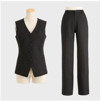 9/25 11:00amまでの特別価格!【事務服。ベストスーツ】2点セット(ベスト+パンツ)(股下72cm) (大きいサイズレディース)事務服,women's suits ,plus size