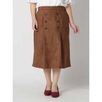 【大きいサイズレディース】【LL-4L】フェイクスウェードスカート スカート 膝丈スカート