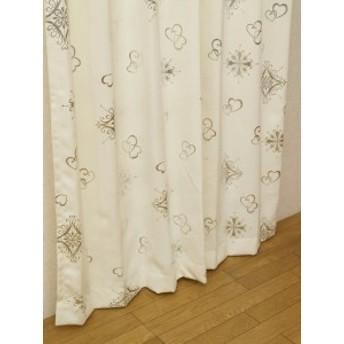 カーテン 一人暮らし 選べる57サイズカーテンアリッサUNI特注加工100×105 cm2枚組アイボリーピンク