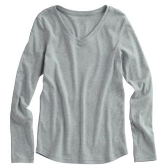 UVカット綿100%フライス素材Vネック長袖Tシャツ (Tシャツ・カットソー)(レディース)T-shirts, テレワーク, 在宅, リモート