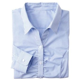 形態安定胸ギャザースキッパーシャツ(ゆったりバスト) (ブラウス)Blouses, Shirts, テレワーク, 在宅, リモート