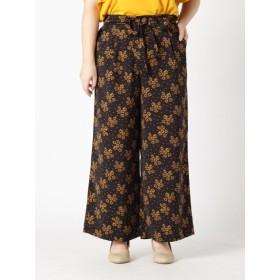 【大きいサイズレディース】【L-5L】ゆったりサイズ!美シルエットリボン付ワイドパンツ パンツ ワイドパンツ