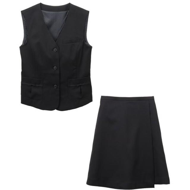 【事務服。ベストスーツ】2点セット(ベスト+キュロットスカート)(選べる2レングス) (大きいサイズレディース)事務服,women's suits ,plus size