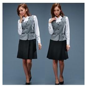 ベスト+プリーツスカート+フレアスカート 3点セットスーツ