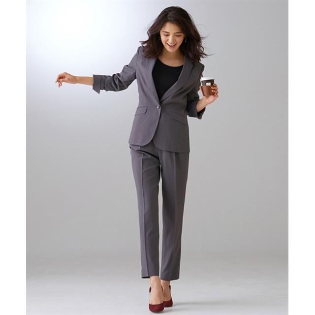 【リスピィシリーズ】洗えるタテヨコ2WAYストレッチ9分丈パンツスーツ【レディーススーツ】 (大きいサイズレディース)スーツ,women's suits ,plus size