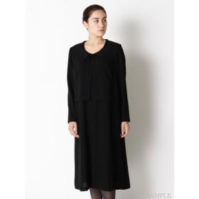 【大きいサイズレディース】レース衿重ね着風前開きブラックフォーマルワンピース ブラックフォーマル・礼服・喪服 セット