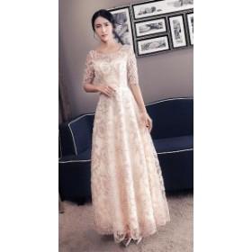 ドレス イブニングドレス パーティードレス ロングドレス 半袖 レース 刺繍 背中編み上げ フレア 綺麗 3569-BE-W