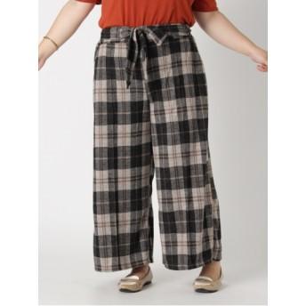 【大きいサイズレディース】秋物【L-3L】ゆったりサイズ!センタープレス風ストレッチワイドパンツ パンツ ワイドパンツ