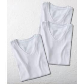 UVカット綿100%フライス素材Vネック半袖Tシャツ3枚組 (Tシャツ・カットソー)(レディース)T-shirts