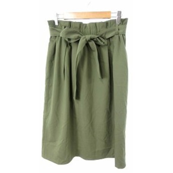 【中古】インディヴィ INDIVI スカート 台形 ひざ丈 リボン 38 緑 グリーン /SU33 レディース