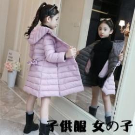 子供服コート ロング丈 キッズコート キルティングジャケット アウター 保温 女の子 可愛い 中綿ジャケット 綿入れコート