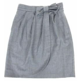 【中古】ストロベリーフィールズ STRAWBERRY-FIELDS スカート 膝丈 台形 ラップスカート リボン ウール 2 グレー ※Y