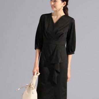 【オンワード】 FeteROBE(フェテローブ) カシュクールドレープフリル ドレス ブラック 9 レディース
