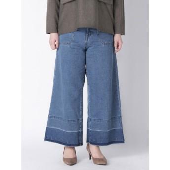 【大きいサイズレディース】【L-3L】ゆったりサイズ!裾デザインデニムワイドパンツ パンツ ワイドパンツ