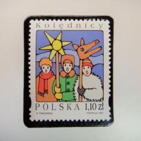 ポーランド クリスマス切手ブローチ4100