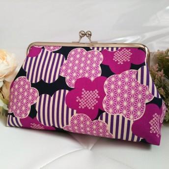 ◆【再販3】ストライプ×梅の花のレトロモダンがま口ポーチ花柄和柄着物紫旅行やプレゼントにも◆