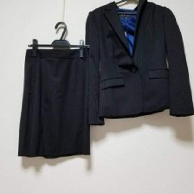 b497dd5eefdf インディビ INDIVI スカートスーツ レディース 黒×グレー ストライプ/上下サイズ違い【中古】
