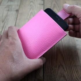 APEEレザーハンドメイド 携帯電話ホルスター ソフトバッグ付き ライチピンク (iphone 8 plus / XR / XS