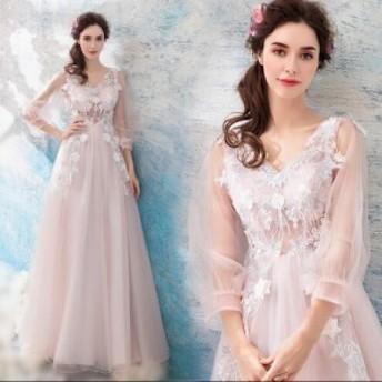 花柄 刺繍 シースルー Aライン ロング ワンピ ドレス 可愛い きれいめ 体型カバー パーティ お呼ばれ 大きいサイズ
