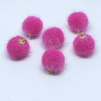 丸カン付きファーボール ピンク ︎ミンクファーボール パーツ 資材 素材 ピアス