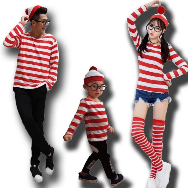 54991f23afdef ボーダー コスプレ クリスマス ウォーリーを探せ コスチューム ウォーリー 仮装 大人用ウェンダ 女性 男性 大人