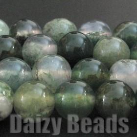 天然石 パワーストーン ビーズ 『2パックセット』「モスアゲート(天然)」 丸玉 約6mm 1連(約38