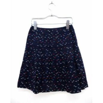 【中古】スウィングル Swingle スカート ミニ フレア タック 総柄 0 紺 ネイビー