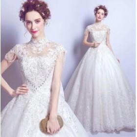 デコルテ シースルー 刺繍 ロング丈 ドレス 上品 きれいめ 可愛い 体型カバー 花嫁 パーティ お呼ばれ 大きいサイズ