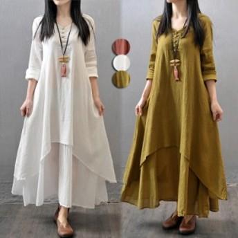ワンピース ロングワンピース レディース レディースファッション 綿麻混 長袖 半袖 ロング丈ワンピース 体型カバー