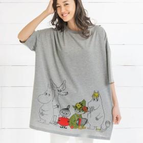 ベルーナ キャラクタービッグシルエットTシャツ ネイビー(リサとガスパール) M-3L レディース